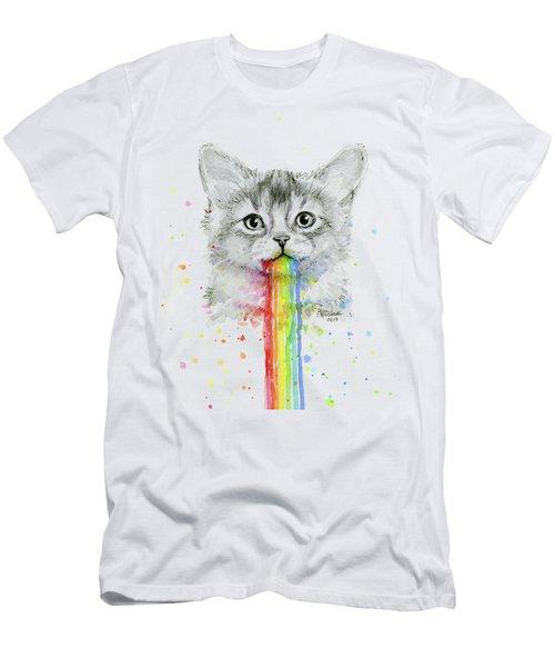 Kitten Puking Rainbows Men's T-Shirt (Athletic Fit)