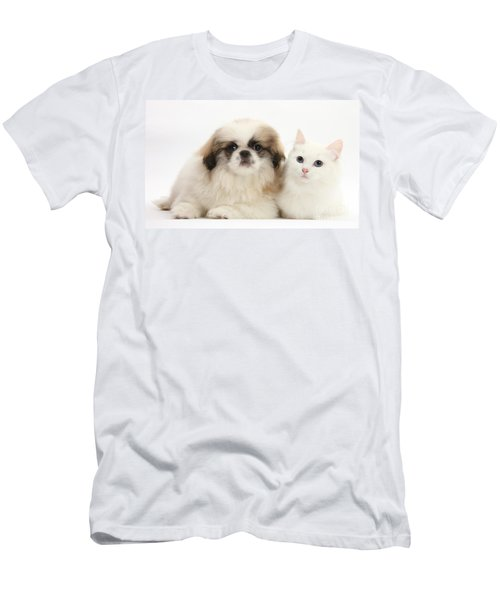 Kitten With Pekinese Puppy Men's T-Shirt (Athletic Fit)