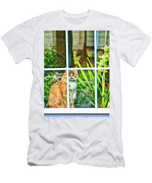 Men's T-Shirt (Slim Fit) featuring the photograph Kitty Reflections by Wendy McKennon