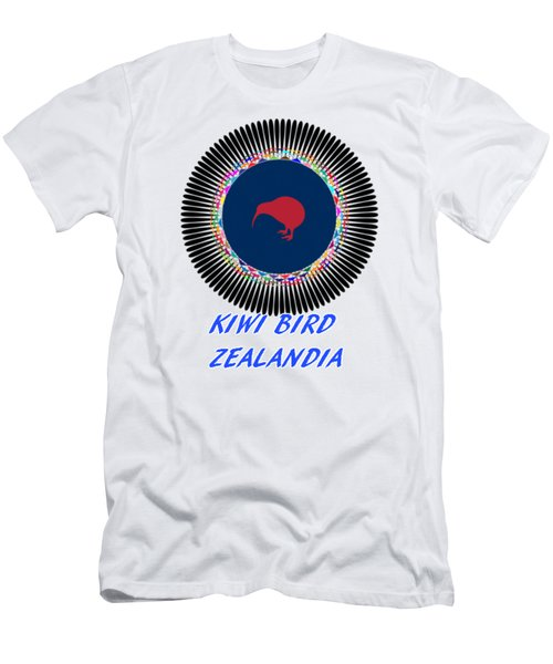 Kiwi Bird Zealandia Mandala Men's T-Shirt (Slim Fit) by Peter Gumaer Ogden