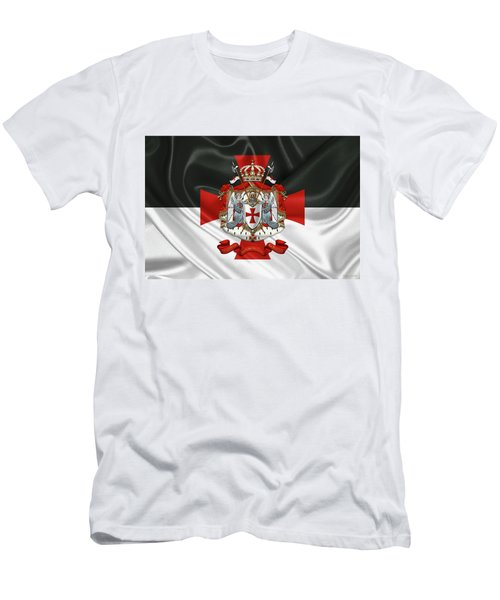Knights Templar - Coat Of Arms Over Flag Men's T-Shirt (Slim Fit) by Serge Averbukh