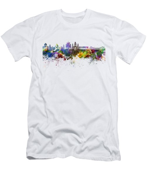Kolkata Skyline In Watercolor Background Men's T-Shirt (Athletic Fit)