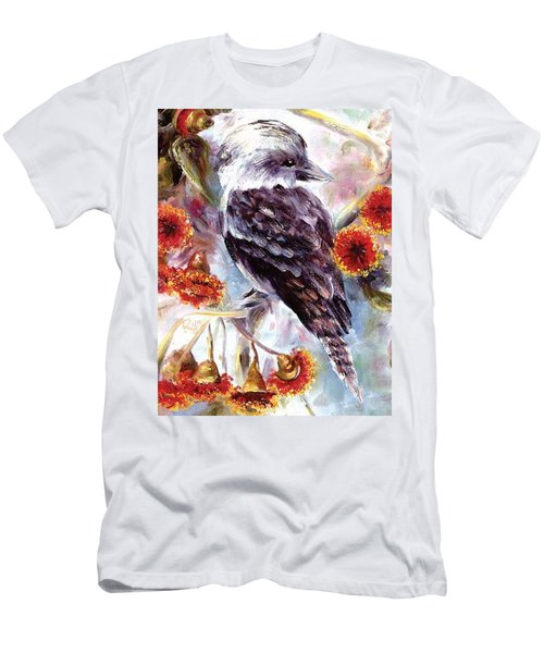 Men's T-Shirt (Athletic Fit) featuring the painting Kookaburra In Red Flowering Gum by Ryn Shell