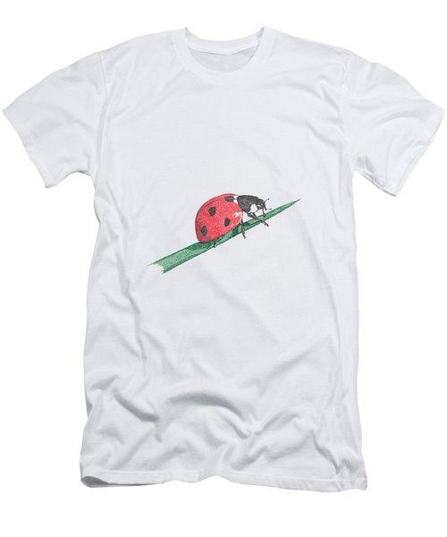 Ladybug Art Print, Ladybug Painting, Garden Nursery Print Art, Red Wall Decor, Garden Wall Art Men's T-Shirt (Athletic Fit)