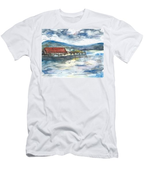 Men's T-Shirt (Athletic Fit) featuring the painting Lake Leatherwood Eureka Springs Boat Dock  by Reed Novotny