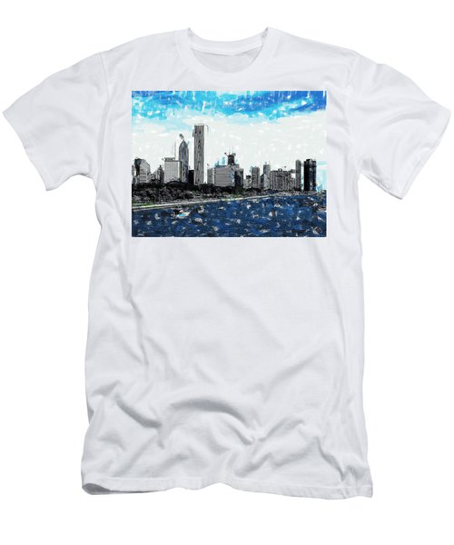 Lake Michigan And The Chicago Skyline Men's T-Shirt (Athletic Fit)