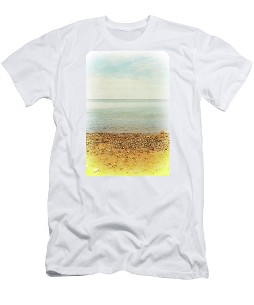 Men's T-Shirt (Athletic Fit) featuring the photograph Lake Michigan With Stony Shore by Michelle Calkins