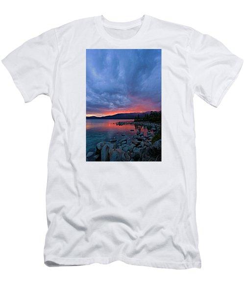 Lake Tahoe Sunset Portrait 2 Men's T-Shirt (Slim Fit) by Sean Sarsfield