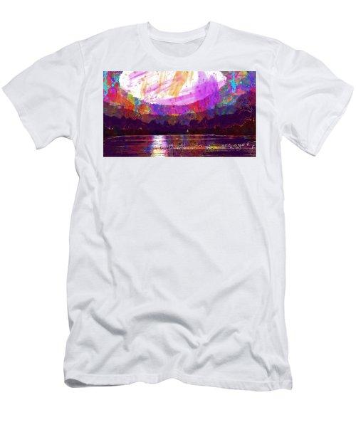 Men's T-Shirt (Athletic Fit) featuring the digital art Landscape Winter Fog Sunrise Birds  by PixBreak Art