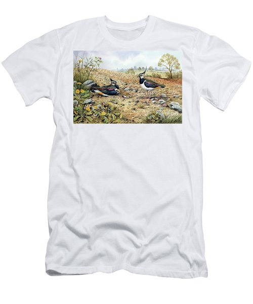 Lapwing Family With Goldfinches Men's T-Shirt (Slim Fit) by Carl Donner