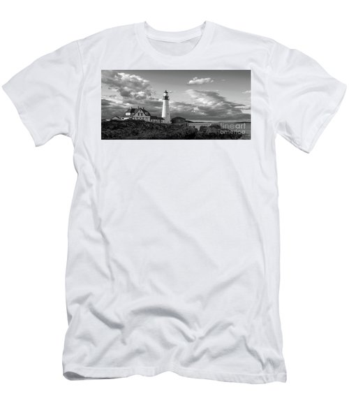Late Afternoon Clouds, Portland Head Light  -98461 Men's T-Shirt (Slim Fit) by John Bald