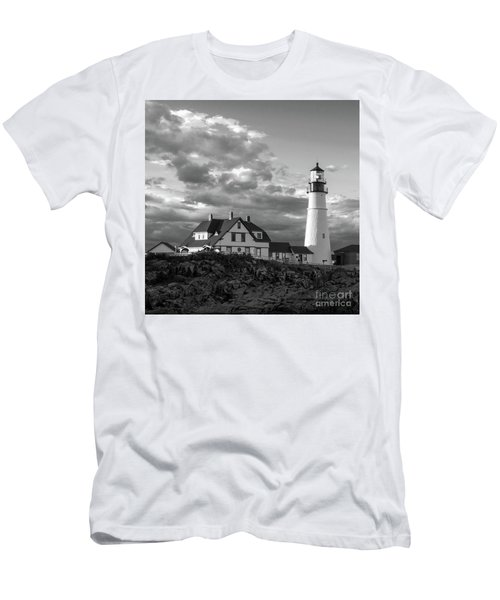 Late Afternoon Clouds, Portland Head Light  -98461-sq Men's T-Shirt (Slim Fit) by John Bald