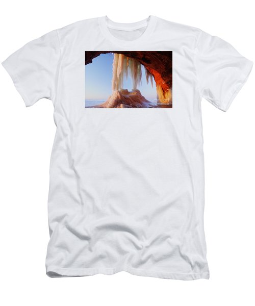 Men's T-Shirt (Slim Fit) featuring the photograph Late Afternoon In An Ice Cave by Larry Ricker