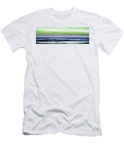 Lava Rock Panoramic Sunset In Green And Blue Men's T-Shirt (Athletic Fit)