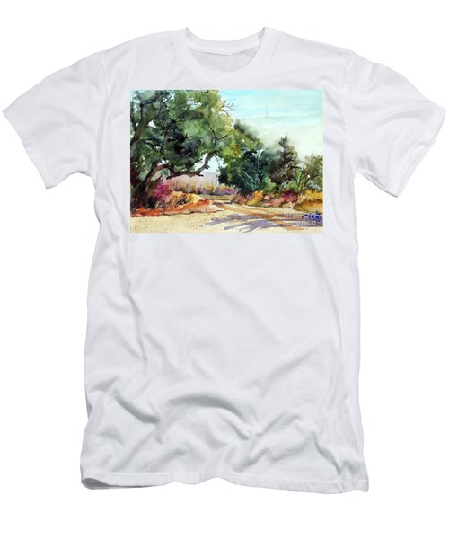 Men's T-Shirt (Slim Fit) featuring the painting Lbj Grasslands Tx by Ron Stephens
