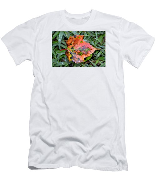 Men's T-Shirt (Slim Fit) featuring the photograph Leaf It Be by Lew Davis