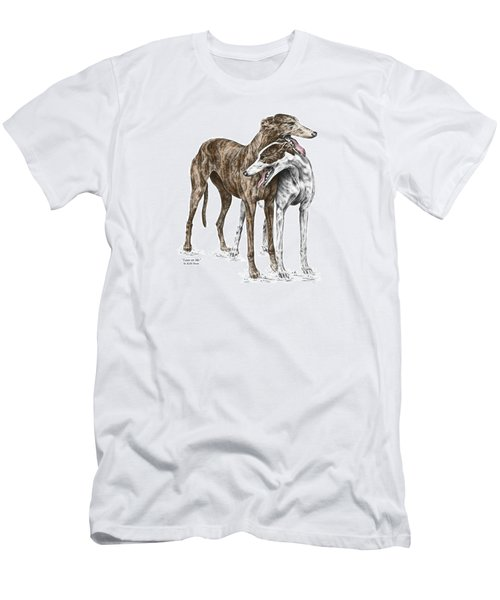Men's T-Shirt (Slim Fit) featuring the drawing Lean On Me - Greyhound Dogs Print Color Tinted by Kelli Swan