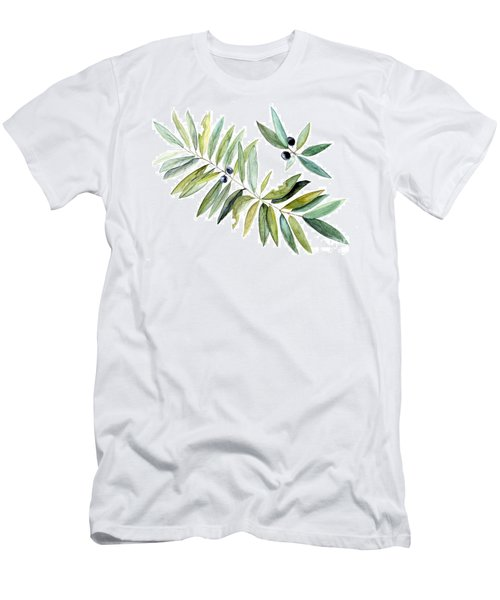 Leaves And Berries Men's T-Shirt (Slim Fit) by Laurie Rohner