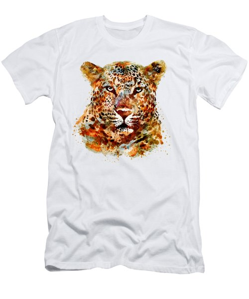 Leopard Head Watercolor Men's T-Shirt (Slim Fit) by Marian Voicu