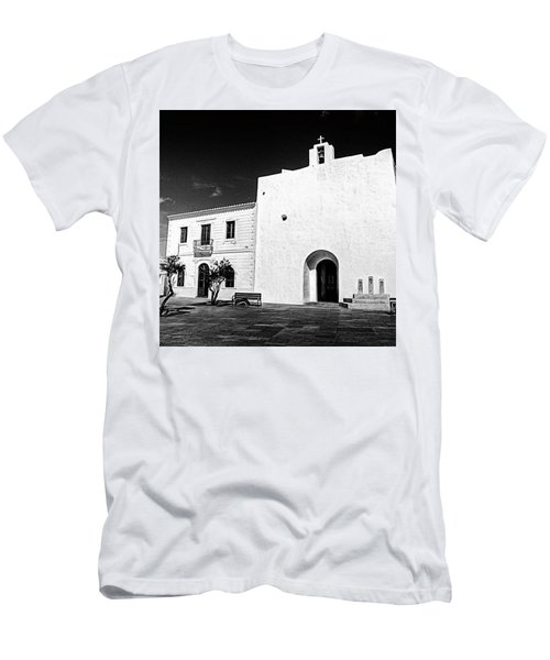 Fortified Church, Formentera Men's T-Shirt (Slim Fit) by John Edwards