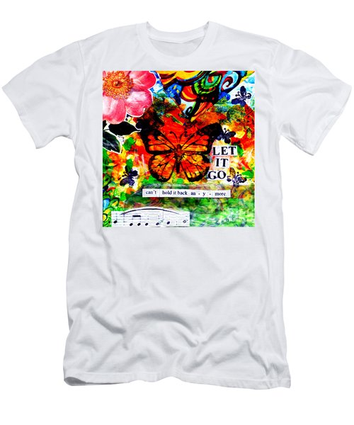 Men's T-Shirt (Slim Fit) featuring the mixed media Let It Go by Genevieve Esson