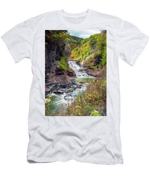 Letchworth Lower Falls In Autumn Men's T-Shirt (Athletic Fit)