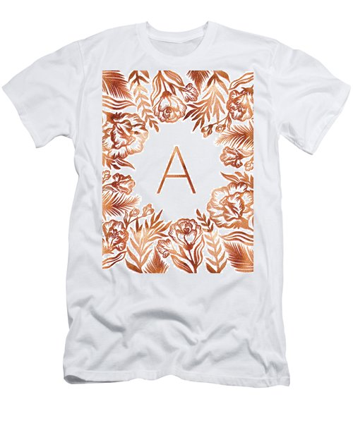 Letter A - Rose Gold Glitter Flowers Men's T-Shirt (Athletic Fit)