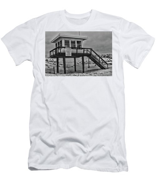 Lifeguard Station 1 In Black And White Men's T-Shirt (Slim Fit) by Paul Ward