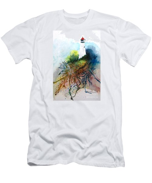 Men's T-Shirt (Slim Fit) featuring the painting Lighthouse I - Original Sold by Therese Alcorn