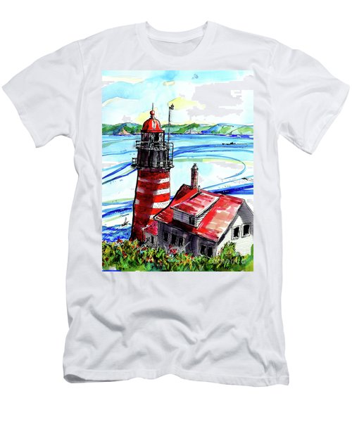 Men's T-Shirt (Slim Fit) featuring the painting Lighthouse In Maine by Terry Banderas