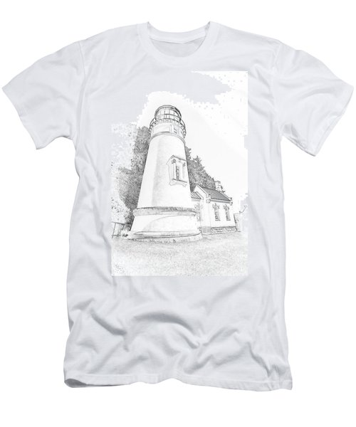 Lighthouse In Oregon Men's T-Shirt (Slim Fit) by Jeffrey Jensen