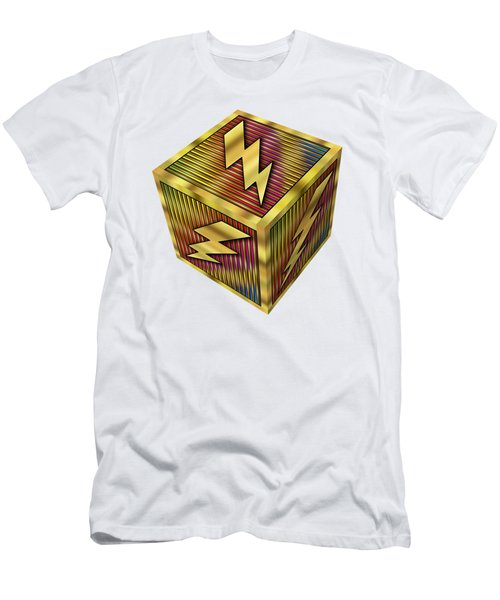 Lightning Bolt Cube - Transparent Men's T-Shirt (Athletic Fit)