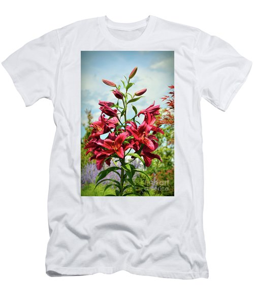 Men's T-Shirt (Athletic Fit) featuring the photograph Lilies In The Garden by Kerri Farley