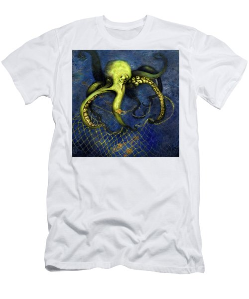 Lime Green Octopus With Net Men's T-Shirt (Athletic Fit)