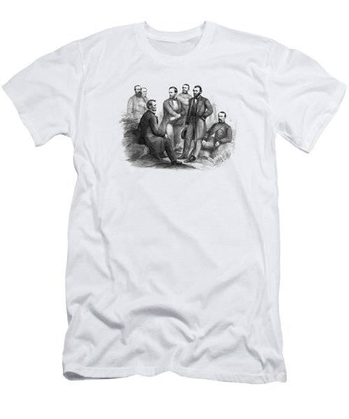 Lincoln And His Generals Black And White Men's T-Shirt (Athletic Fit)