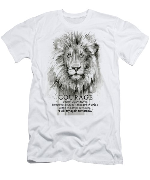 Lion Courage Motivational Quote Watercolor Animal Men's T-Shirt (Athletic Fit)