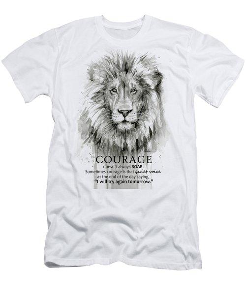 Lion Courage Motivational Quote Watercolor Animal Men's T-Shirt (Athletic Fit)