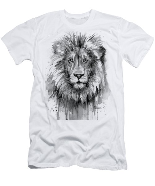 Lion Watercolor  Men's T-Shirt (Athletic Fit)