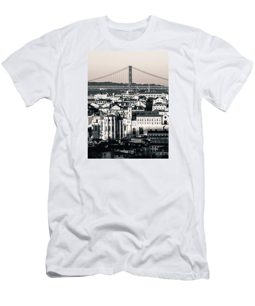Lisbon In Black And White Men's T-Shirt (Athletic Fit)