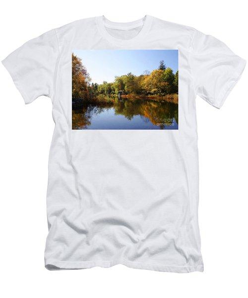Little Shawme Pond In Sandwich Massachusetts Men's T-Shirt (Slim Fit) by Rod Jellison