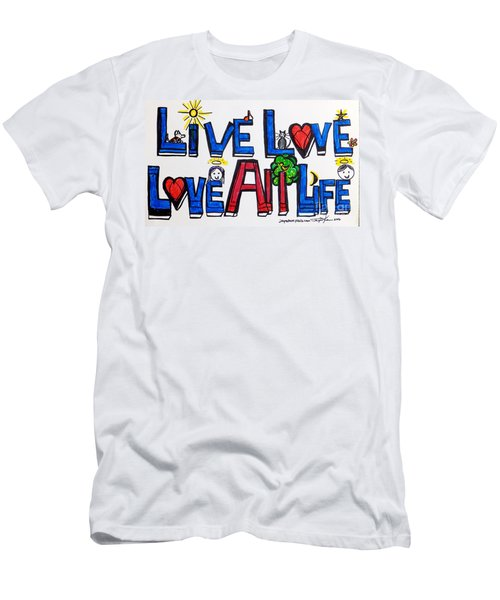 Live Love, Love All Life Men's T-Shirt (Athletic Fit)