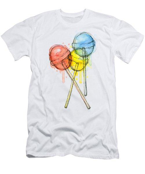 Lollipop Candy Watercolor Men's T-Shirt (Athletic Fit)