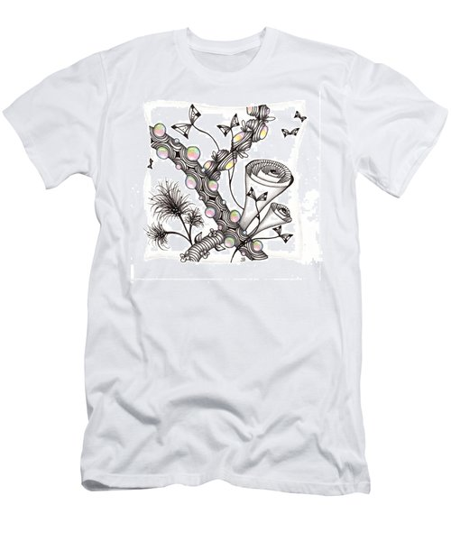 Men's T-Shirt (Athletic Fit) featuring the drawing Lollywimple Garden by Jan Steinle
