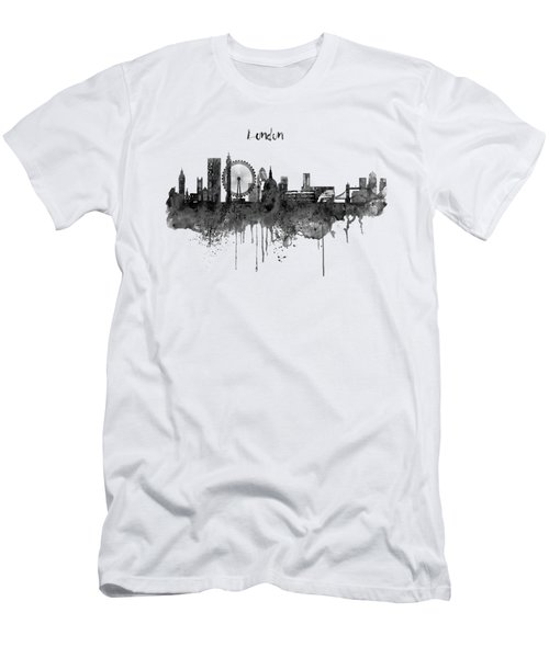 London Black And White Skyline Watercolor Men's T-Shirt (Slim Fit) by Marian Voicu