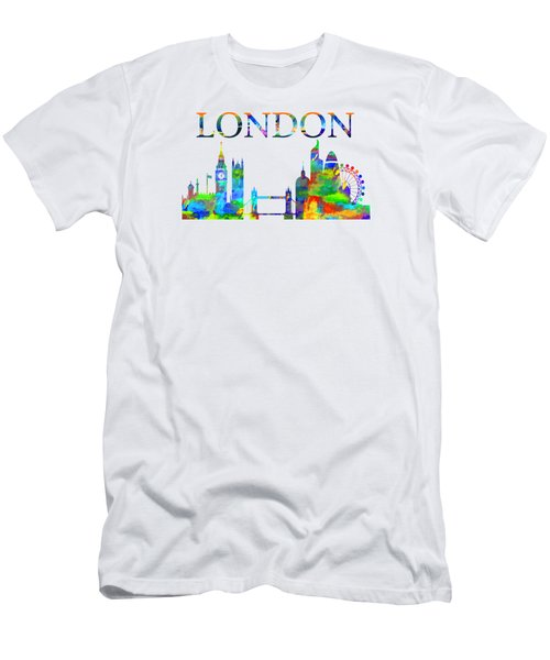 Men's T-Shirt (Athletic Fit) featuring the digital art London England Watercolor by David Millenheft