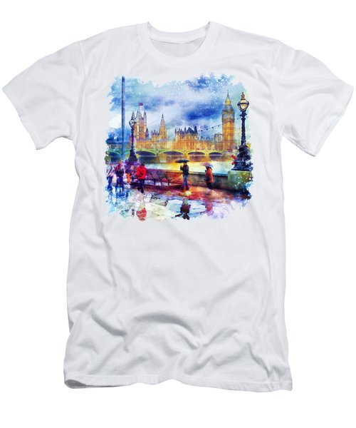 London Rain Watercolor Men's T-Shirt (Slim Fit) by Marian Voicu