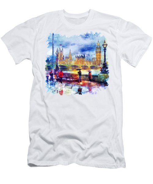 London Rain Watercolor Men's T-Shirt (Athletic Fit)
