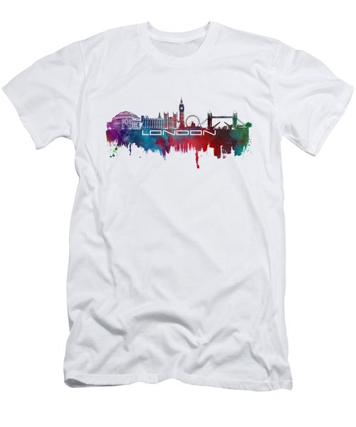 London Skyline City Blue Men's T-Shirt (Slim Fit) by Justyna JBJart