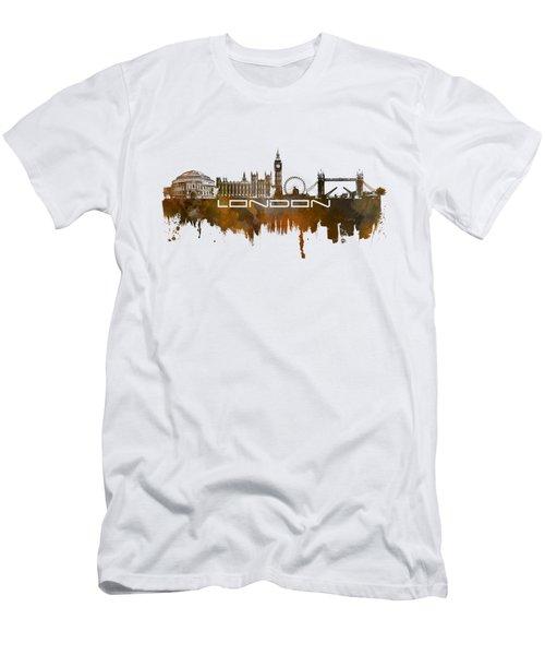 London Skyline City Brown Men's T-Shirt (Slim Fit) by Justyna JBJart