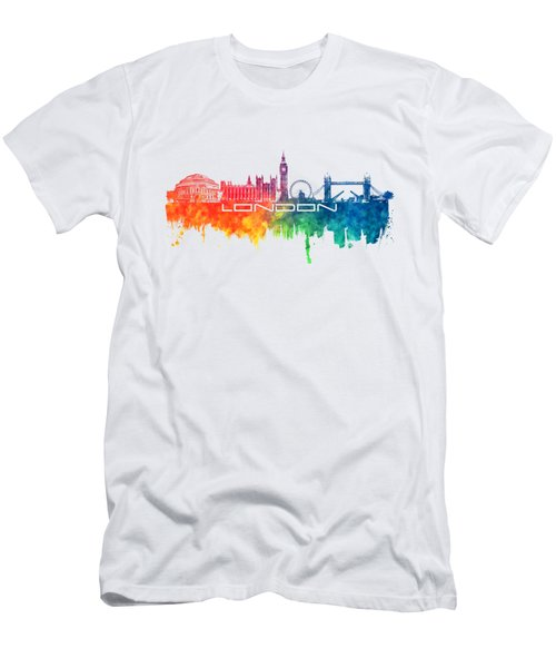 London Skyline City Color Men's T-Shirt (Slim Fit) by Justyna JBJart